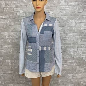 One September Patchwork Button Up Shirt Size Small